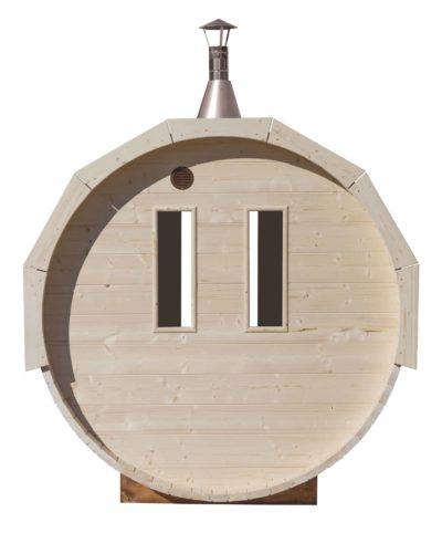 Barrel sauna achterzijde met ramen