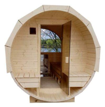 Barrel sauna glazen deur