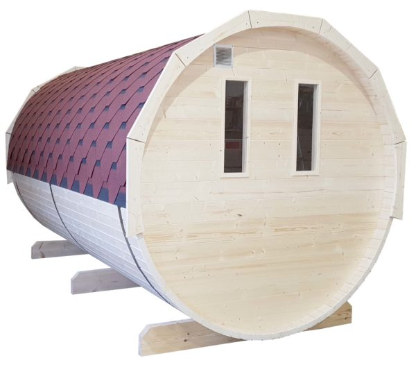 Barrel sauna grenen achterzijde