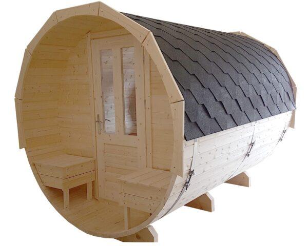 Barrel sauna grenen voorzijde met bankjes