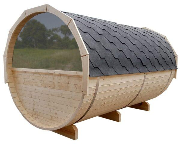 Barrel sauna halfrond raam moon