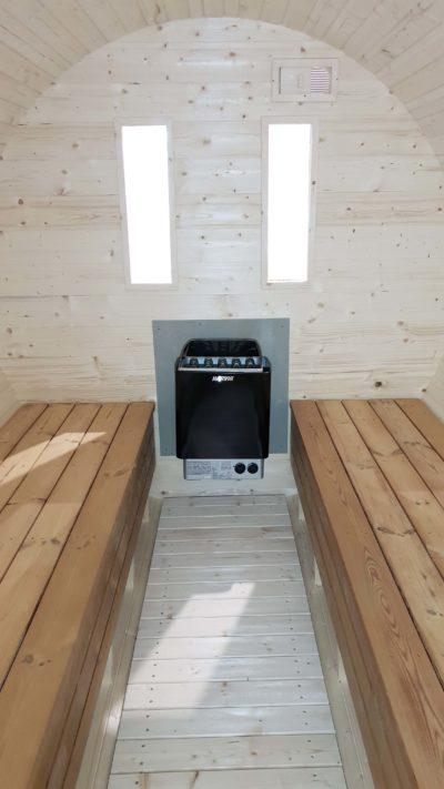 Barrel sauna interieur elektrisch kachel