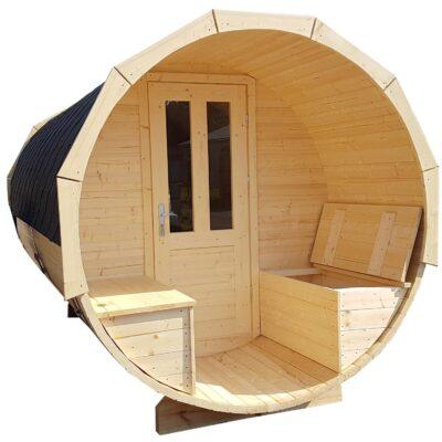 Barrel sauna met opbergbanken