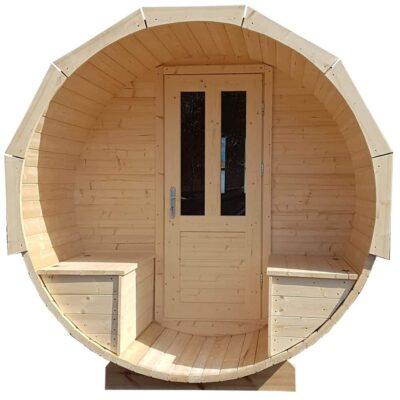 Barrel sauna met terras opbergbanken
