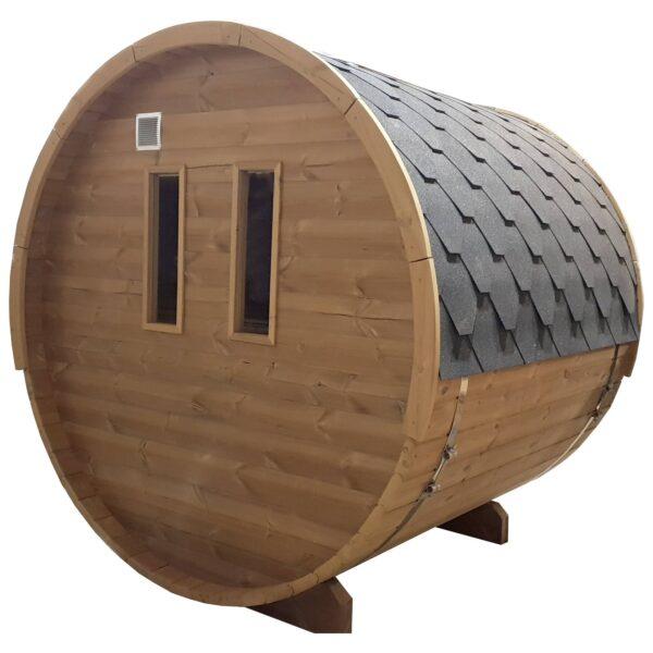 Barrel sauna thermowood achterzijde