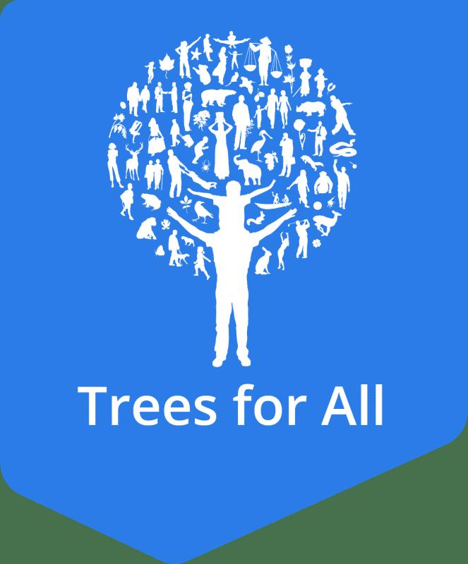Label logo Trees for All RGB beeldscherm