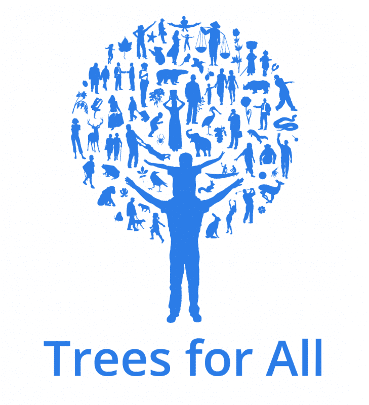 Logo Trees for All RGB beeldscherm
