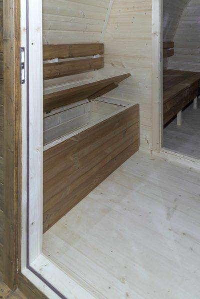 Pod sauna opberg banken