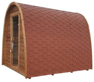 Pod sauna thermowood glazendeur rode shingels