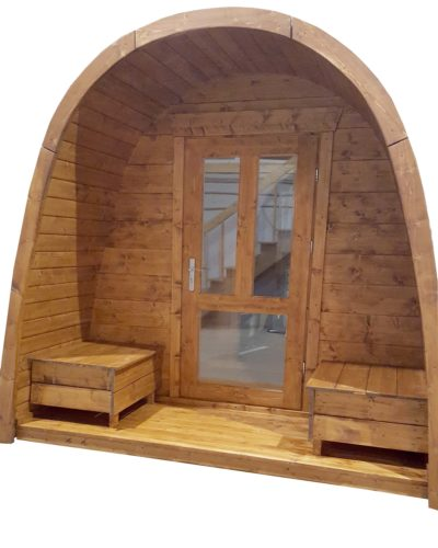 Pod sauna voorportaal deur hout en glas