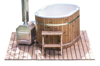 hot tub ofuro kunststof thermowood. met trapje