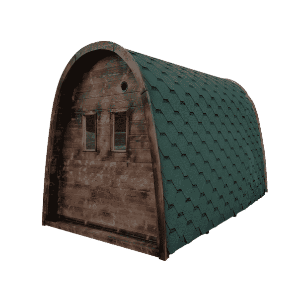 pod sauna achterzijde groene shingels