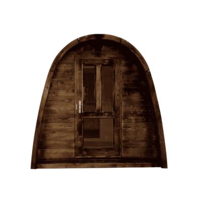 pod sauna deur hout en glas